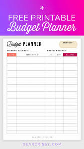 Meal Budget Planner Free Budget Planner Printable Finance Budgeting For A