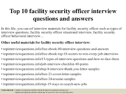 Top 10 facility security officer interview questions and answers In this  file, ...