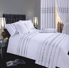 white silver colour stylish modern sequin duvet quilt cover set
