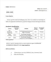 Mechanical Engineering Resume In India Engineering Mechanical