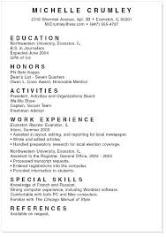 Format Of A Resume For Students Undergraduate Student Resume