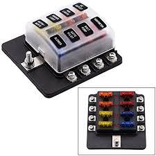 amazon com 8 way fuse box holder with led warning lights 12v fuse fuse box 12v dc 8 way fuse box holder with led warning lights 12v fuse block for automotive car boat