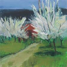 original art for at ugallery com blossoming trees and path provence by