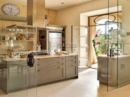 elegant sliding glass door for modern small kitchen with open selves and wooden cabinet