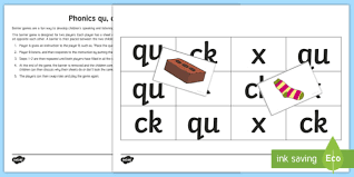 Free interactive exercises to practice online or download as pdf to print. Phonics Qu Ck X Barrier Game Teacher Made