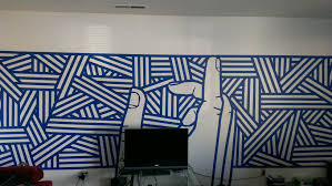 Wall Patterns With Tape 3 Rolls Of Blue Tape 6 Hours Boredom New Wall Mural For My