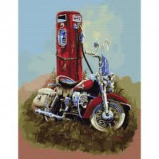 KK0643 <b>Харлей Дэвидсон</b> Картина по номерам с <b>цветной</b> схемой ...