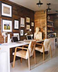 modern rustic office. rustic home work area with wood paneling and industrial chic closetoceiling lights modern office y