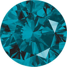 Round Cut Teal Blue Diamond 25 Ct Si Clarity