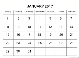 January 2017 Online Calendar – Blank & Free Calendar Templates