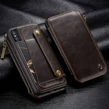 detachable leather wallet case for iphone x zipper pocket credit card slots back cover for iphone xs max x xr 7 case coque capa