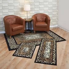 Rug Sets For Living Rooms Capri 3 Piece Rug Set Leopard Skin Walmartcom