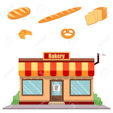 Vector Illustration Bakery Shop Front And Different Kinds Of