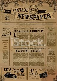 Old Time Newspaper Template Word Vintage Newspaper Layout Design Template Stock Vector