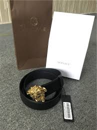 versace belt box. black calf leather medusa belt from versace featuring gold-tone hardware and an adjustable fit. box