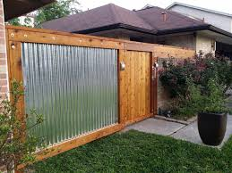 corrugated metal fence. Delighful Fence Rough Sawn Cedar U0026 Galvanized Corrugated Metal Fence For