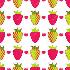 cute abstract strawberry with leaves in flat style cartoon element for design wallpaper background texture textile simple kawaii minimalistic pattern