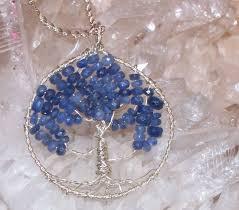 custom made sapphire tree of life necklace genuine sapphire gemstone sterling silver