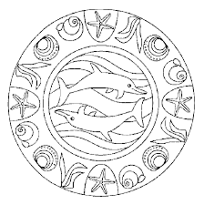 Kleurplaat Mandala Dieren Mandala Dolfijnen Kleurplaten