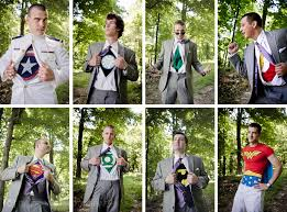 these groomsmen are super heroes and one is wonder woman lol best