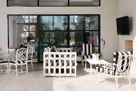 white bamboo outdoor sofa with black