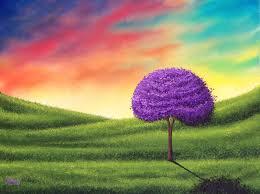 sunset sky oil painting purple tree landscape painting 12 x 16 original oil painting