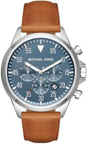 men s michael kors light brown leather strap watch mk8490 loading zoom
