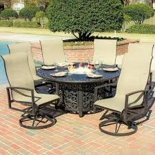 fire pit set with chairs charming sling chair patio dining sets 6 person sling patio dining fire pit set