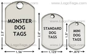 Dog Tag Size Chart Dog Tag Dimensions
