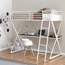 Bunk Bed With Couch And Desk Duro Wesley Twin Over Futon Bunk Bed Silver Hayneedle