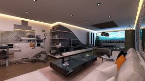 Breathtaking Man Room Ideas With Floating Shelf Also Sweet Ceiling Lamps  And Sectional Sofas As Decorate In Modern Cave Man Decors