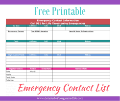 Emergency List Free Printable Emergency Contact List Detailed Wife
