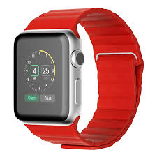 jetech red leather loop apple watch band