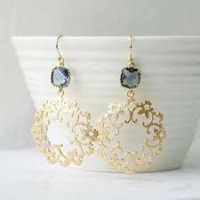 navy gold earrings elegant matt gold filigree earring blue wedding chandelier earrings