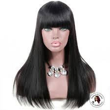 straight black wig with bangs