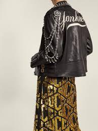 gucci yankees crystal embellished leather biker jacket outfit 1232801