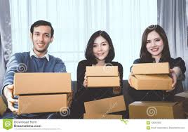 Start Boxes Three Start Up Business Partner Holding Delivery Boxes Ready To Send