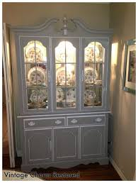 wisteria inspired painted china hutch