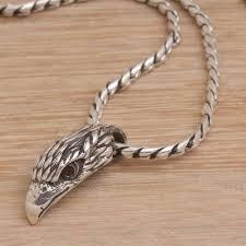 925 sterling silver garnet eagle head