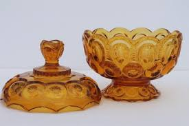 amber glass candy dish vintage moon and stars pattern pressed glass bowl w lid