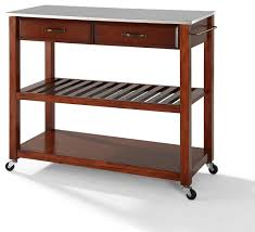 stainless steel top kitchen cart with optional stool storage cherry