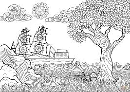 Small Picture Seascape Zentangle Coloring Page Free Printable Coloring Pages