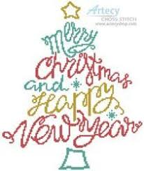 Merry Christmas And Happy New Year Cross Stitch Chart
