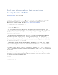 Examples Of Recommendation Letter For High School Student