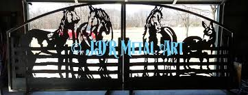 Decorative Metal Yard Signs Decorative driveway gate with metal silhouette of four horses at 48