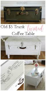 $5 Old Trunk Coffee Table (A Thrifty Makeover   Trunk coffee tables,  Vintage decor and Repurposed furniture