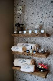 log shelves and pebbles tiles