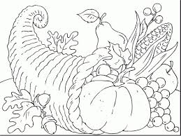 Cornucopia Coloring Page Thanksgiving Pages Of 1