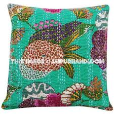 24x24 Indian Kantha Pillow Cover Kantha throw Pillow kantha cushion Co