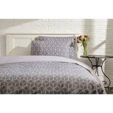 wilko geometric print grey king size duvet set image 1